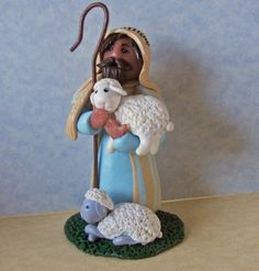 Jesus The Good Shepherd with two sheep - polymer clay