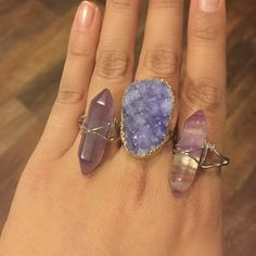 ❗️1 hr sale❗️Purple druzy stone ring Brand new. Adjustable natural stone quartz ring. Gold plated Boutique Jewelry Rings