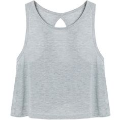 Yoins Grey Simple Crossed Back Vest ($10) ❤ liked on Polyvore featuring tops, shirts, tank tops, yoins, crop tops, grey, cropped vests, grey shirt, gray crop top and grey tank