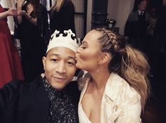 Obsessed with this pic of Chrissy Teigan with her husband John Legend. She looks absolutely gorgeous in this braided ponytail hairstyle. It's effortless and chic.