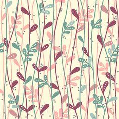 Motivo floreale - Makower UK Leaf Stems in Berry - un prodotto unico di DinoFabric su DaWanda