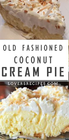 Old fashioned coconut cream pie this is a tried and true old fashioned coconut cream pie took many years of searching and baking to find the right one and this is it! enjoy recipes coconut pie cream old fashioned keto chocolate coconut brownies Pie Dessert, Dessert Recipes, Just Desserts, Delicious Desserts, Cream Pie Recipes, Coconut Cream Pie Filling Recipe, Best Coconut Pie Recipe, Old Fashioned Coconut Cake Recipe, Coconut Cream Pies