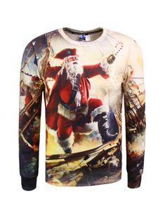7d27a9b65299 Crew Neck 3D Pirate Print Christmas Sweatshirt - COLORMIX 2XL Cheap  Christmas