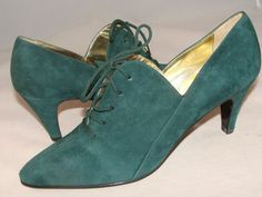 ESCADA Suede Green Leather Lace Up Shoes Booties Size 7AA Italy #ESCADA #LaceUps #CASUAL ~ WISH these were my size. SO COOL! =:'(