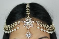 DIAMANTE STONES  PEARL HAIR HEAD CHAIN HEADPIECE HEAD JEWELLERY MATHA PATTI