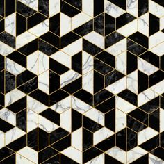 Black and White Marble Hexagonal Pattern Art Print by Santo Sagese