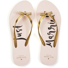 kate spade new york Nadine Just Married Flip Flops ($62) ❤ liked on Polyvore featuring shoes, sandals, flip flops, gold, kate spade, kate spade shoes, strappy flip flops, bow shoes and gold t-strap sandals