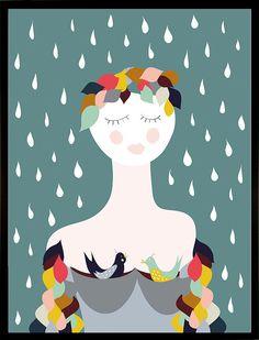 Auch bei Regen gute Stimmung: Stoff für die Gallery Wall.