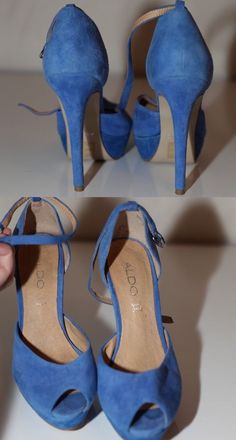 "Aldo 37 Sz 6 5 Blue Leather Suede Stiletto Heels Ankle Strap Peep Toe 5"" Heel 