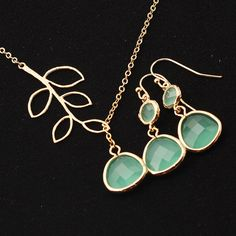 Gold Plated, Leaf Connector with Framed Mint Glass Stone Droplet, Necklace and Double Mint Glass Droplet Earrings on Etsy, $18.00