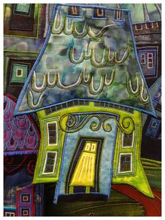 Leaning houses quilt by Olivia Uffer.  Photo by Le grenier de Mamounette.