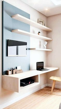 31 White Home Office Ideas To Make Your Life Easier; home office idea;Home Office Organization Tips; chic home office. Home Office Design, Home Office Decor, Home Design, Home Decor, Wall Design, Office Designs, Office Furniture, Office Style, Study Room Design