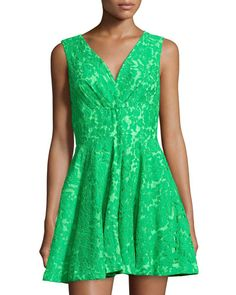 T9EQH Alberto Makali Floral-Lace Sleeveless Dress, Green