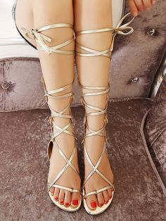6817f14b5ca Golden Knee High Strappy Lace Up Zipper Gladiator Sandals