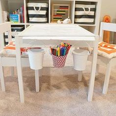 Freckles Chick - basements - Ikea Expedit Shelving Unit, The Container Store Rugby Stripe Bin, Ikea Latt Children's Table and Chairs, playro. Table Console Ikea, Ikea Table Hack, Ikea Chair, Ikea Kids, Kids Table And Chairs, Kid Table, Play Table, Ikea Latt, Ikea Expedit