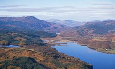 An aerial view over Loch Venachar, Stirlingshire