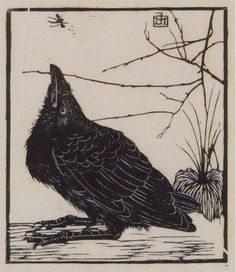 Crow, looking up to a mosquito by Jan Mankes, Woodcut Summer 1918.