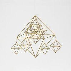 Brass Classic Himmeli / Modern Hanging Mobile / Geometric Sculpture / Minimalist Home Decor by marlene