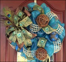 Peacock Deco Mesh Wreath. $84.99, via Etsy.