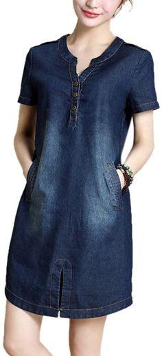 Allbebe Womens Loose Vneck Short Sleeves Denim Midi Dress L Blue -- You can get additional details at the image link. Denim Midi Dress, Jeans Dress, Denim Dresses, Summer Dresses 2017, Summer Dresses For Women, 2017 Summer, Dress Outfits, Casual Outfits, Casual Jeans
