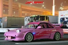 TOYOTA Spokon style, stark pink color, Garlish interior, two GT wings Classy Cars, Sexy Cars, Hot Cars, Pimped Out Cars, Dream Cars, Best Jdm Cars, R34 Gtr, Toyota Mr2, Street Racing Cars