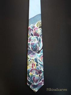 Silk Necktie Hand Painted Mens tie Wedding Necktie Blue Mens Necktie unique gift for men Silk neckties Handpainted Tie Groomsman gift Floral by FilkinaScarves on Etsy