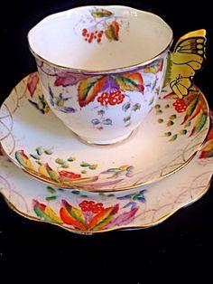 Royal Albert Butterfly Handle Virginia Tea Cup Saucer ~ Plate Trio