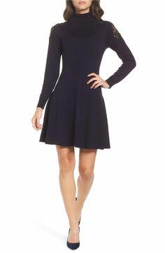 Main Image - Eliza J Lace Shoulder Turtleneck Sweater Dress