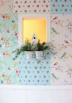 Pip Studio wallpapers done in a patchwork pattern.  Especially cool thing to do with remainders and leftovers; don't let anything go to waste!