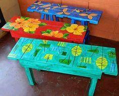 mesa de palets pintadas - Buscar con Google