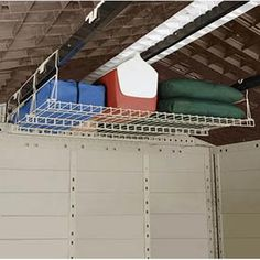 Suncast Shed Storage Loft. I need this for my garage! Suncast Sheds, Suncast Storage Shed, Shed Storage, Built In Storage, Garage Storage, Storage Spaces, Wire Storage, Loft Storage, Kayak Storage