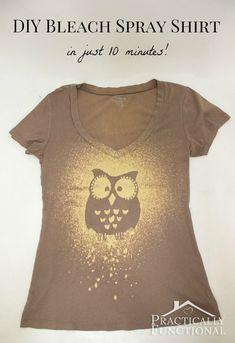 Make Your Own Bleach Spray Shirt | DIY Cozy Home Green shirt with a 4-H logo