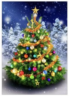 US Shipper Decorated Christmas Tree Diamond Painting Art Kit. by OurCraftAddictions Merry Christmas Pictures, Pretty Christmas Trees, Christmas Tree Painting, Christmas Tree Decorations, Crystal Embroidery, Embroidery Kits, Diy Broderie, Cross Stitch Tree, Diamond Art