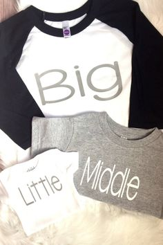 Awesome New Big Brother Gifts for New Big Brother BIG, MIDDLE and LITTLE Matching Coordinating Brother Sister Siblings Toddler Kids T-Shirts and Baby Onesie Bodysuit by Ollie and Penny at Etsy