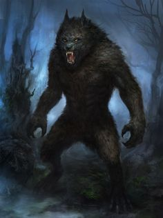 Werewolf by TsimmerS swamp forest monster beast creature animal Mythological Creatures, Fantasy Creatures, Mythical Creatures, Fantasy Rpg, Dark Fantasy, Dungeons And Dragons, Wolf Hybrid, Werewolf Art, Real Werewolf