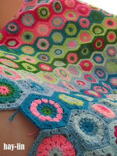 I love hexagons.. but its tedious stitching together. Took me 4winters to finish a park slope afghan  striped with hexagons, motifs, grannies, crochet, blanket, afghan, throw