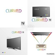 Vector: Set of curved tv background #curved #tv #business #brand #hd #ultra #4k #background