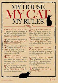 My House, My Cat, My Rules Digital print for cat lovers **A4