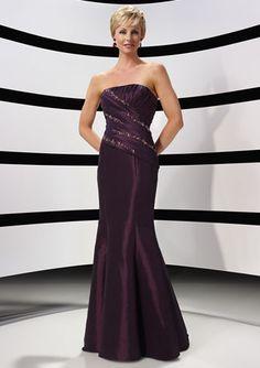 Vintage Purple Strapless Floor Length Sequin Mother of Bride and Groom Dress