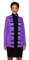 Bob Mackie's Open Front Striped Shawl Collar Cardigan - Shop for women's Cardigan