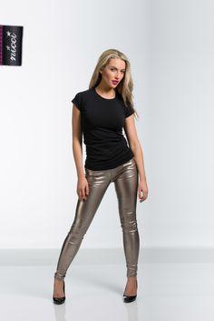 Matallic gold jeans at #NICCI