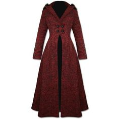 Punk Rave Queen Of Hearts Long Coat Jacket Womens Red Hooded Gothic... ($225) ❤ liked on Polyvore featuring outerwear, coats, jackets, gothic coat, vintage coat, goth coat, long coat and longline coat