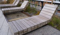 Benches at The High Line, NYC | Minimal. Love. And the grayer they get, the better they'll look.