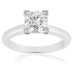SALE!! 1 1/2 Carat Solitaire Diamond Engagement Ring Princess Cut / Shape V Prong in 14K White Gold ( K Color, I1 Clarity, 1.5 C.t.w.) REVIEW