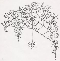 Flowers w Spiderweb and Spider by jeninemd, via Flickr