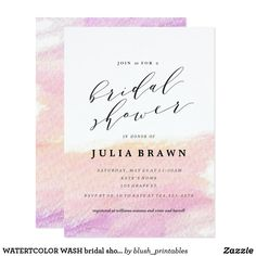 WATERTCOLOR WASH bridal shower invitation