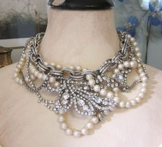 Repurposed Rhinestone and Pearl Statement Necklace - One of a Kind Designs by JryenDesigns