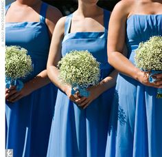 cornflower blue bridesmaid dresses crystals, breath bouquet, babies breath, bridesmaids, white bouquets, blue bridesmaid dresses, bridesmaid bouquets, blues, babi breath