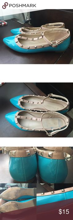 listing! BCBG studded t-strap flats! Bright blue • imperfections pictured above • size 6.5 but fits more like a 6 • gold studs BCBG Shoes Flats & Loafers
