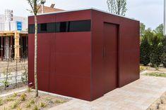 design gartenhaus @_gart drei - vine red, Fahrradhaus #Gartenhaus #HPL #Gerätehaus #HPL #Flachdach